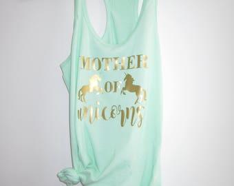 mother of unicorns womens tank top - XS-XXL mint white choose your color cursive gold