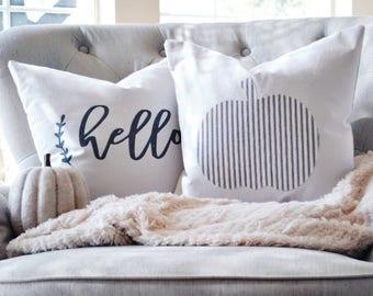 Farmhouse Ticking Pumpkin Pillow Cover | Blue Ticking Pumpkin Pillow Cover | Fall Farmhouse Pillow Cover | Fall Farmhouse Decor | 18 x 18
