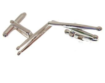 Silver Drumstick Cufflinks.  Hallmarked Silver Drumsticks Cufflinks