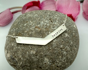 Chevron Necklace - Sterling Silver, Hand Stamped, Inspirational Gift for Wife,  Girlfriend, Best Friend - Inspire