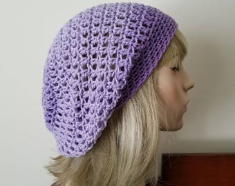 Shades of Lavender Purple Lilac Crochet Slouchy, Tam Hat, Cap, Snood, Beret Slouch