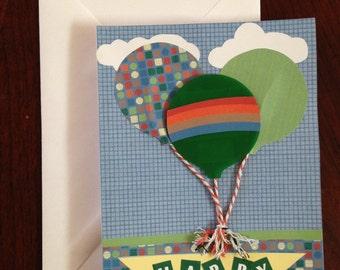 Birthday Card, Balloon Card, Homemade Card,