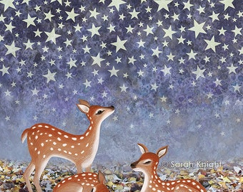 whitetail fawns under the stars, signed digital illustration art print 8X10 inches, whimsical night starry deer at night