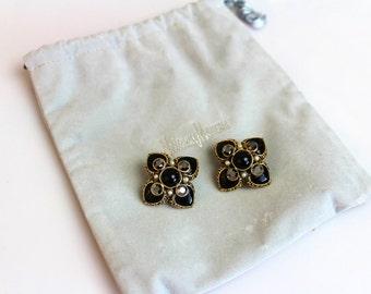 Jose Maria Barrera Black  Rhinestones Cross  Earrings Clip on