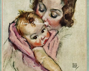 NURSERY PRINT - Baby Girl and Mom - 1933 Restored Baby Art Print -   Great Shower Gift #169