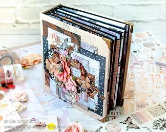 Interactive photo album - Weeding - Anniversary - Scrapbook - Mini album - Gift for her - Fuchsia Black album - Memory book - Travel album