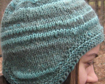 wool earflap hat, hand knit, hand spun, size large