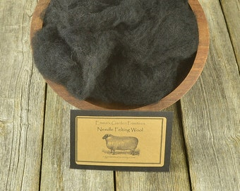 Needle Felting  Wool - Black - Wet Felting Wool- C1