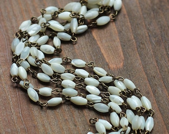 Vintage Mother of Pearl Rice Bead Chain