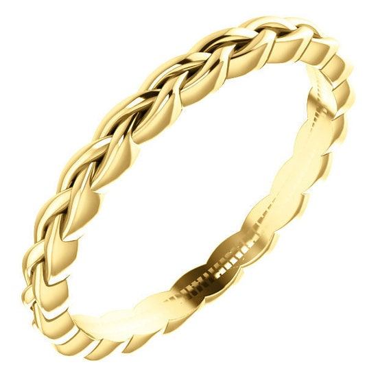 14K Yellow White Rose Gold Twisted Design Wedding Ring Stackable Anniversary Band All Sizes Available