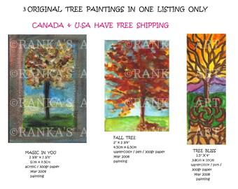 3 ORIGINAL TREE PAINTINGS mini art