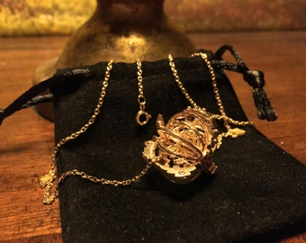 Cage Fish Necklace - The Spirit Essence of the Seas - Cast Bronze Pendant on Gold Filled Chain