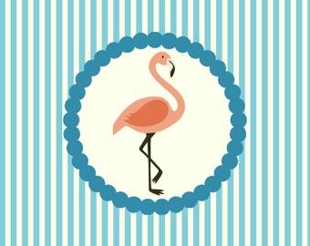 Sweet Flamingo Folded Thank You Notes (Set of 10)