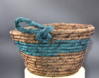 Handmade Basket, Handmade Bowl, Home Decor, Home & Living, Fabric Basket, Coiled Bowl, Clothesline Bowl, Funky Basket, Basketry