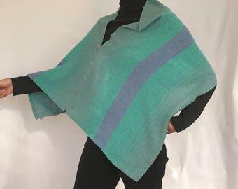 Shawl / Shrug / Poncho, handwoven cotton blue green