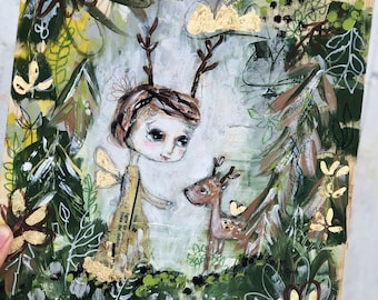 Deer You- mixed media on wood, painting, nature, acrylic