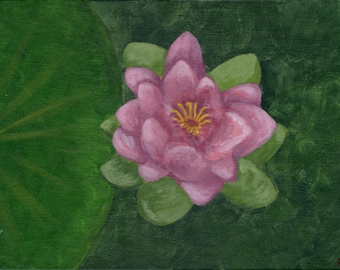 Water Lily -  Acrylic Floral Painting