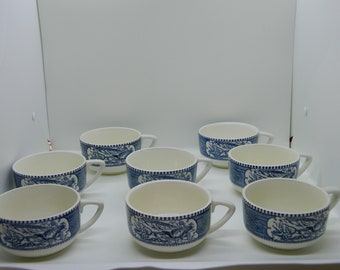 Currier and Ives Blue Royal Set of 8 Cups.