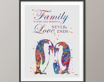 Penguin Family Quote 2 Watercolor Art Print Wedding Gift Nursery Wall Art Wall Decor Art Home Decor Wall Hanging Family Baby Shower [NO 840]