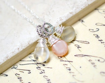 Peach and Gray Moonstone Necklace, Gemstone Trio Cluster Pendant, Genuine Gemstone Jewelry, One of a Kind