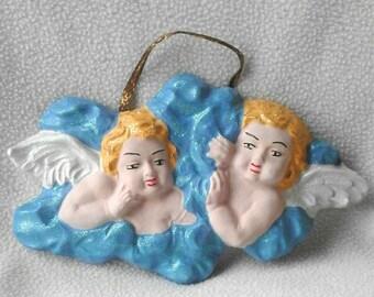 coppia di angeli  , angeli in gesso , angeli fatti a mano , angeli dipinti a mano , angeli da appendere alla parete