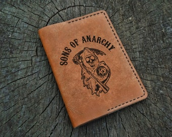 Leather Passport Cover, Sons of Anarchy, Leather Passport Holder, Leather Passport Wallet, Travel Wallet, Leather Passport Personalized Gift