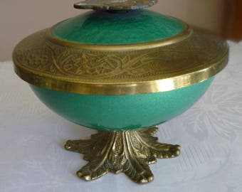 Vintage Judaica brass and metal teal candy dish w/lid on pedestal depicts Tiberias