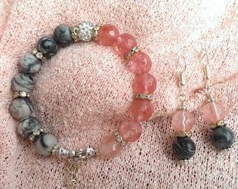 Gemstone bracelet-earring-set