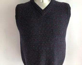 Vintage Men's 80's Navy Blue, Sweater Vest, Acrylic by Sunday's Sportwear (M)