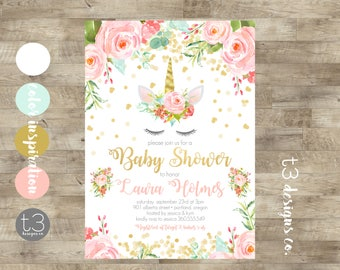 Unicorn Baby Shower Invitation, Girl Baby Shower Invitation, Girl Baby  Shower Invite, Blush Pink U0026 Gold Glitter Invite, Watercolor