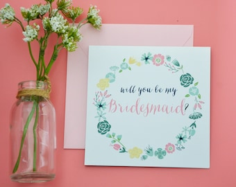 Bridesmaid Card - Floral Will You Be my Bridesmaid Card - Mint, Blush and Navy