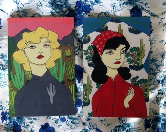 2 Cactus girl post card prints by Amanda Atkins