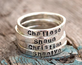 Silver Stacking Name Ring. Argentium Silver .935 Personalized with Your Choice of Names or Words. First Letter Capitalized