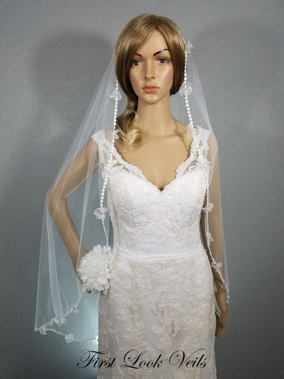 Lace Wedding Veil, White Bridal Veil, Veil, Bridal Fingertip Veil, Mini-Floral Lace Veil, Rhinestone Accent Veil, Vail, Bridal Accessory