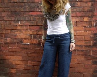 Navy Blue Women's Drawstring Low Rise Wide Leg Linen Pants|Plus Size Linen Pant|Linen Trousers|Summer Pants|Loose Pants|Maternity Pants