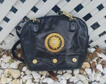 Vintage boho sun medallion black faux leather shoulder bag