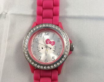 Hello Kitty Sanrio Pink with Rhinestones Wrist Watch
