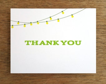 Printable Thank You Card - Thank You Card Template - Print & Fold Thank You - String Light Thank You Note - Thank You Card PDF  Download