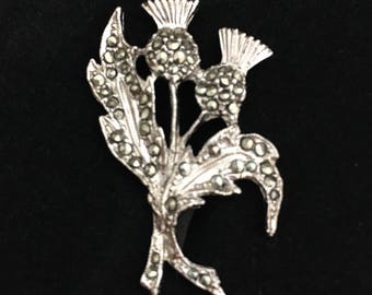 Vintage 1950s Delicate Marcasite Thistle Brooch/pin free gift box