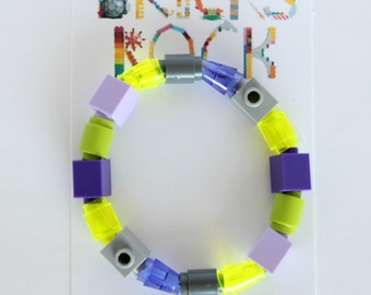 Kids Grey, Purple, Green  1 x 1 Bracelet made with LEGO® - Solid & Translucent Cones, Tubes, Bricks - Jewelry made with LEGO®