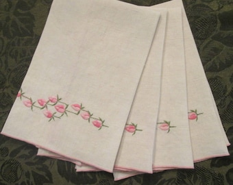 Vintage Embroidered Fingertip Towels - Set of Four Linen Guest Towels - Pink Rosebuds on Creamy White - Mother's Day