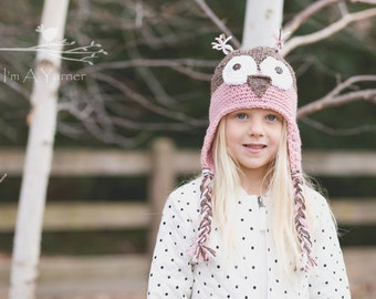 Pink Owl Hat, Pink Beanie, Photo Prop, First Birthday Hat, Woodland Animal, Earflap Hat, Take Home Outfit, Baby Shower Gift, Crochet Hat