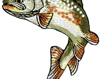 Fishing - Golden Trout - Fish - Embroidered (LEFT) Iron on Patch - Style B