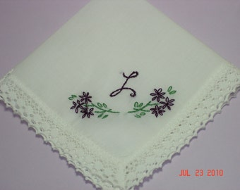 Wedding handkerchief/ mother of bride/mother of groom/ bridesmaid hanky/ hand embroidered/dated/wedding colors welcome