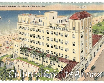 Vintage Postcard - Strath Haven Hotel - On the Ocean Between 4th and 5th Streets - Miami Beach Florida - Linen - Deckle Edge - 1941