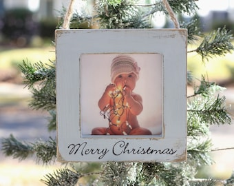 Grandparent Ornament Gift Holiday Family, Merry Chirstmas Grandparents, Baby, Hand Stamped