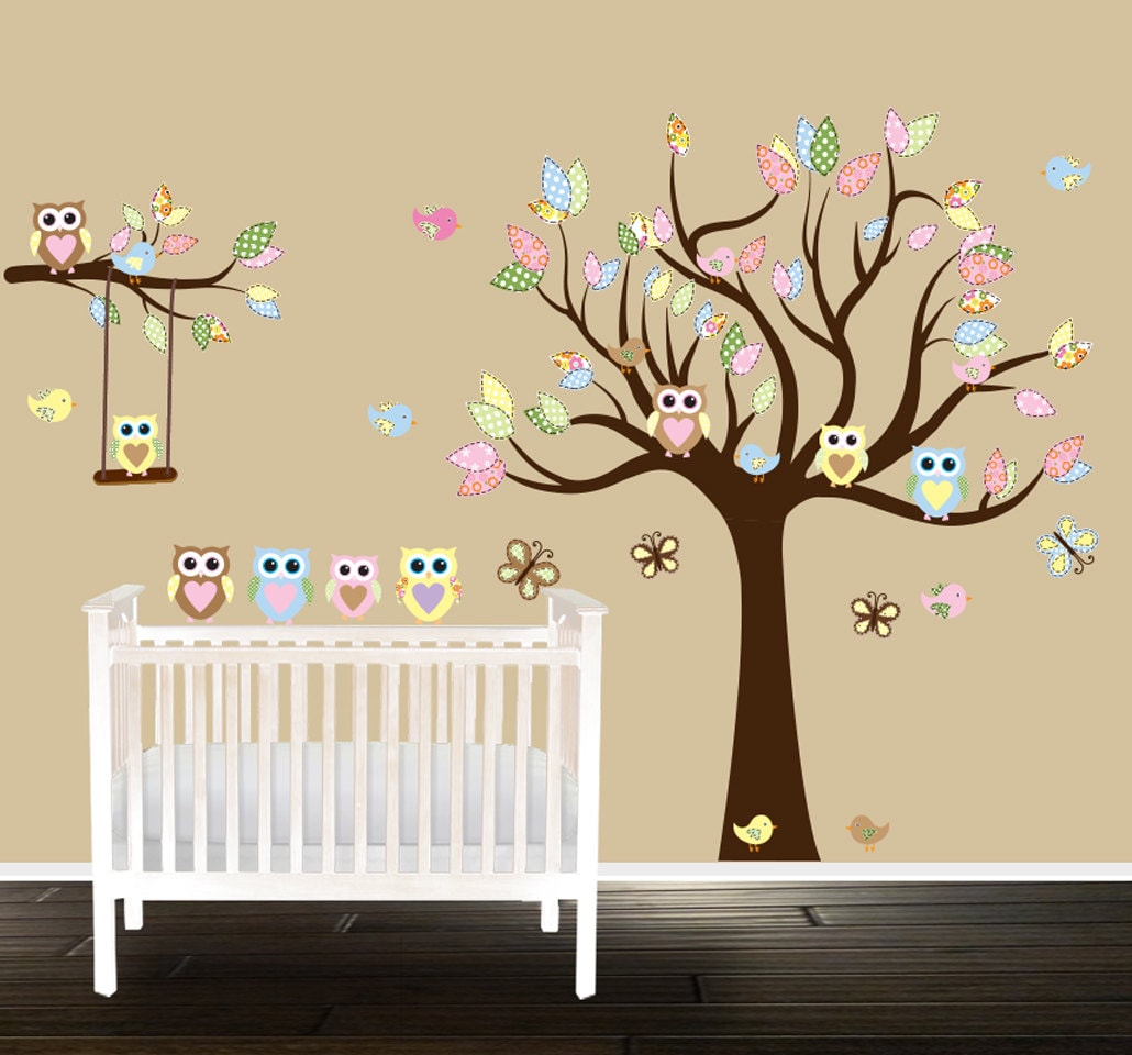 Eule Baumschule Baum Wand Aufkleber neutrale