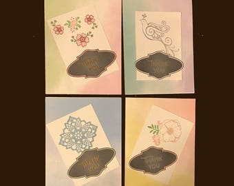 Handmade Set of 4 Thank You Cards with Envelopes Blank Inside