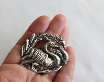 Sterling Silver Brooch Silver Swan Repousse Brooch / Pin- Free US Shipping