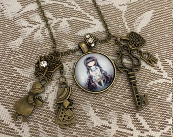 Sweet Little Girl, Pendant Charm Necklace.  In Vintage Style,   Antique Bronze Tone.